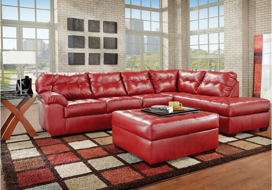 United 9569 Sectional And Ottoman | Furnish Your Needs Intended For Red Leather Sectionals With Ottoman (Image 10 of 10)