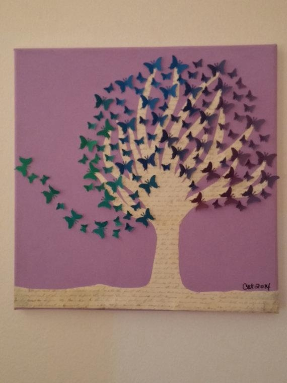Upcycled Wall Art! One Of A Kind Butterfly Tree Created Using For Butterflies Canvas Wall Art (Photo 6 of 20)