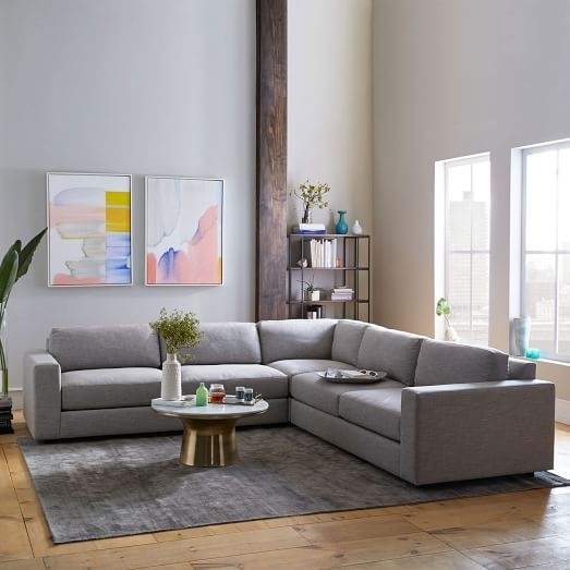 Urban 3 Piece L Shaped Sectional – Heathered Tweed | West Elm With West Elm Sectional Sofas (Image 9 of 10)