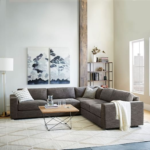 Urban 3 Piece Sectional, Charcoal (Heathered Tweed) | West Elm Within West Elm Sectional Sofas (Image 10 of 10)