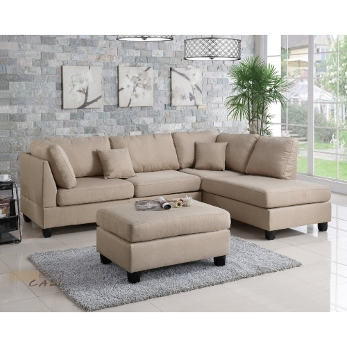 Urban Cali San Francisco Sand Linen Sectional Sofa With Reversible With Regard To San Francisco Sectional Sofas (Image 10 of 10)
