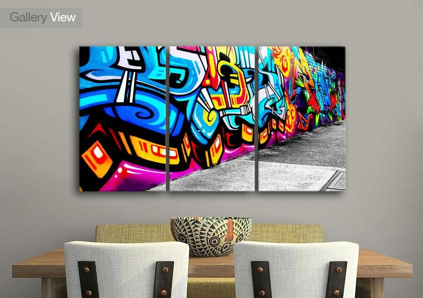 Urban Three Panel Graffiti Street Art Canvas Prints With Graffiti Canvas Wall Art (Image 16 of 20)