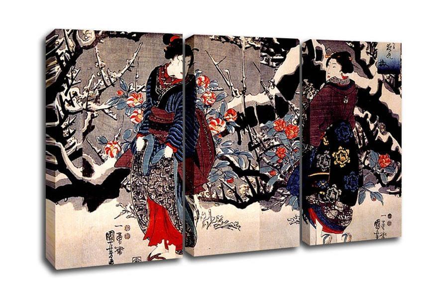 Utagawa Kuniyoshi Women Ethnic 3 Panel Canvas 3 Panel Set Canvas With Japanese Canvas Wall Art (Image 19 of 20)