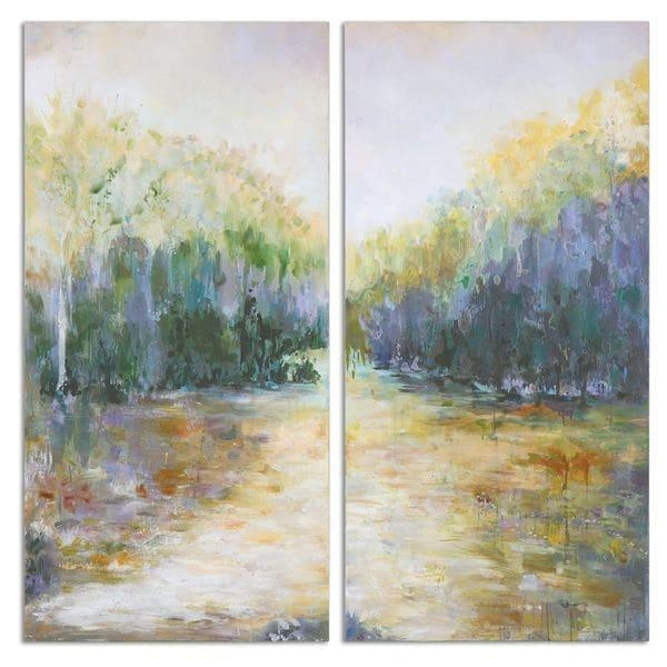 Uttermost 'summer View' Hand Painted Canvas Wall Art (Set Of 2 Inside Hand Painted Canvas Wall Art (Image 12 of 20)