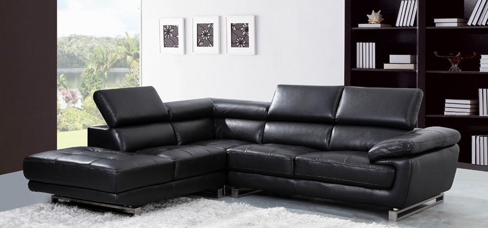 Valencia Corner Midnight Black H8582Lhf – Leather Corner Sofas – Sofas Pertaining To Leather Corner Sofas (Photo 10 of 10)