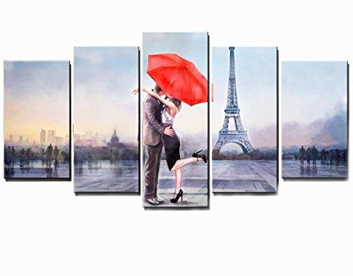 Valentine's Gift Honest Canvas Prints Love In Paris 5 Panels Huge With Regard To Canvas Wall Art Of Paris (Image 15 of 20)