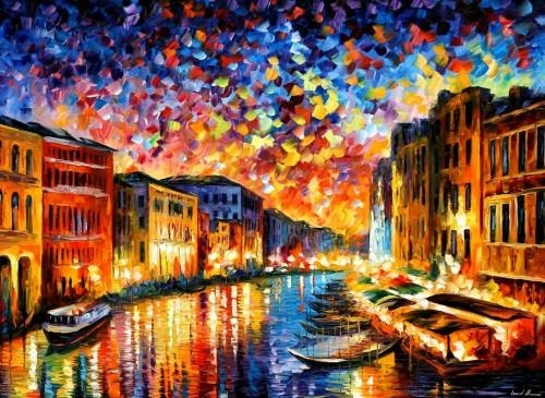 Venice Grand Canal – Palette Knife – Large Canvas Art Oil Painting With Regard To Italy Canvas Wall Art (Image 16 of 20)
