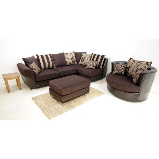 Vermont 3 Seater + Static Cuddle Chair Set Chocolate Brown | Sofa Inside 3 Seater Sofas And Cuddle Chairs (Image 10 of 10)