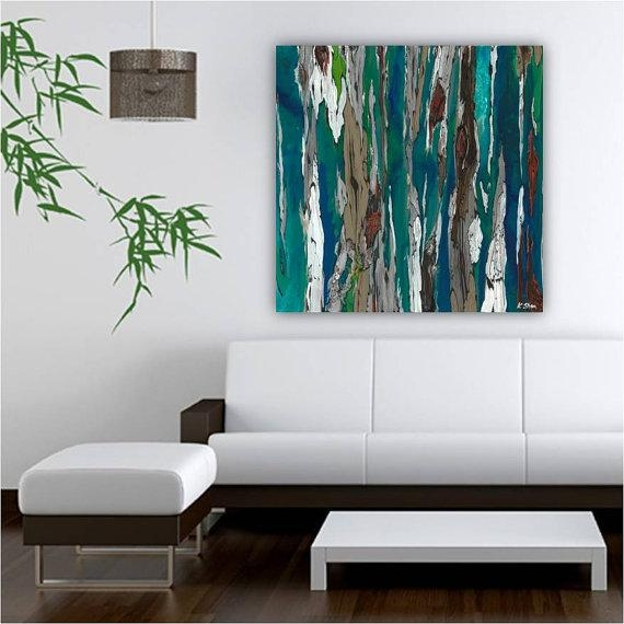 Very Large Blue Teal Canvas Print Wall Art Abstract Landscape Within Abstract Living Room Wall Art (Image 17 of 20)