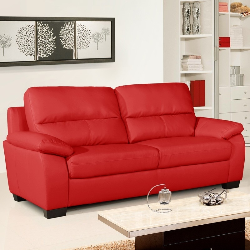 Vibrant Red Leather Sofa Collection For Red Leather Couches (Image 9 of 10)