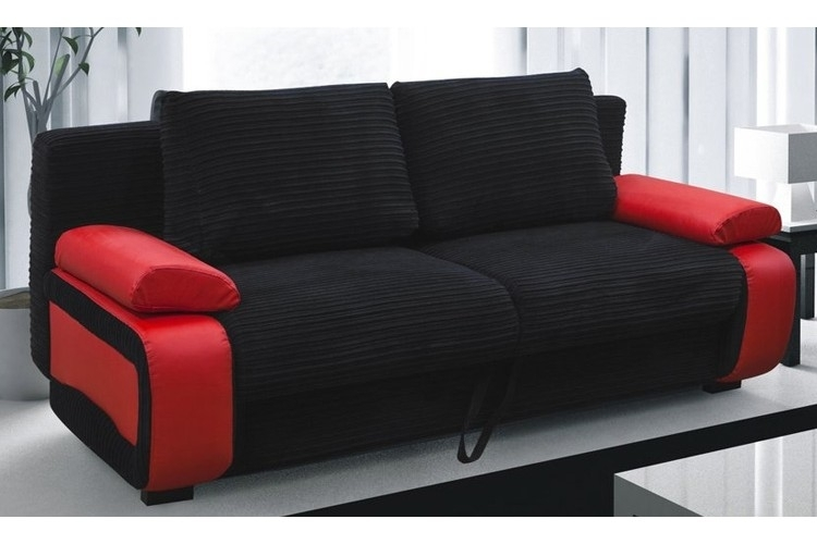 Victor Fabric Sofa Bed Red & Black Regarding Red And Black Sofas (Image 10 of 10)