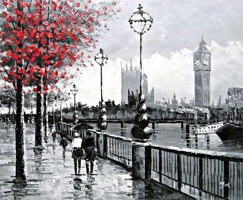 View Of London Big Ben From The South Bankthe River Thames In London Canvas Wall Art (Photo 8 of 20)