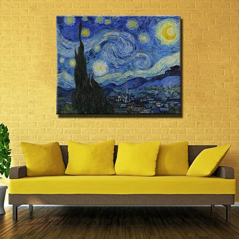 Vincent Van Gogh Masters Starry Night Painting Reputation Wall Art Throughout Masters Canvas Wall Art (View 4 of 20)