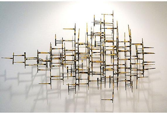 Vintage Abstract Geometric Modern Metal Wallfabulousmess Regarding Abstract Metal Sculpture Wall Art (Image 15 of 20)