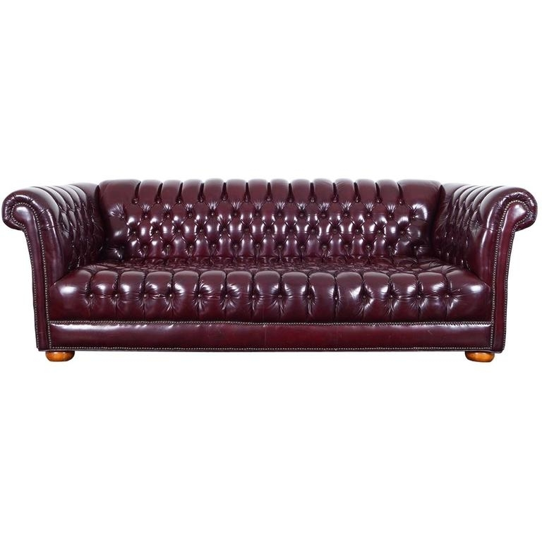 Vintage Burgundy Leather Chesterfield Sofa For Sale At 1Stdibs In Leather Chesterfield Sofas (Image 9 of 10)
