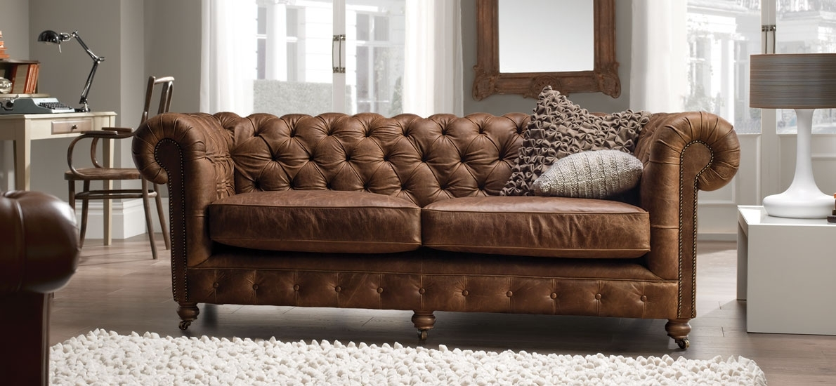 Vintage Chesterfield 3 Seater Leather Sofa | Traditional & Handmade For Leather Chesterfield Sofas (Image 10 of 10)