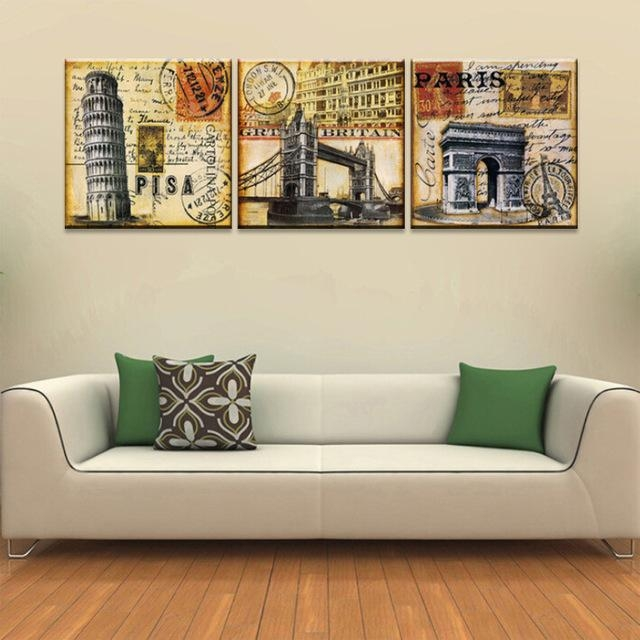 Vintage Home Decoration Wall Art 3 Piece Print Canvas Oil Painting Intended For Retro Canvas Wall Art (Image 19 of 20)