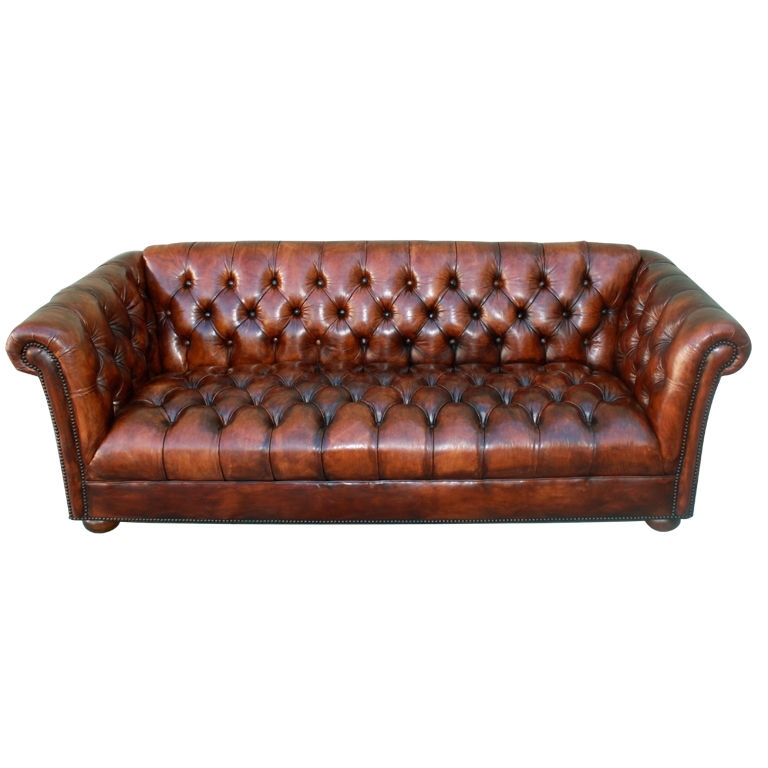 Vintage Leather Tufted Chesterfield Style Sofa C (Image 10 of 10)