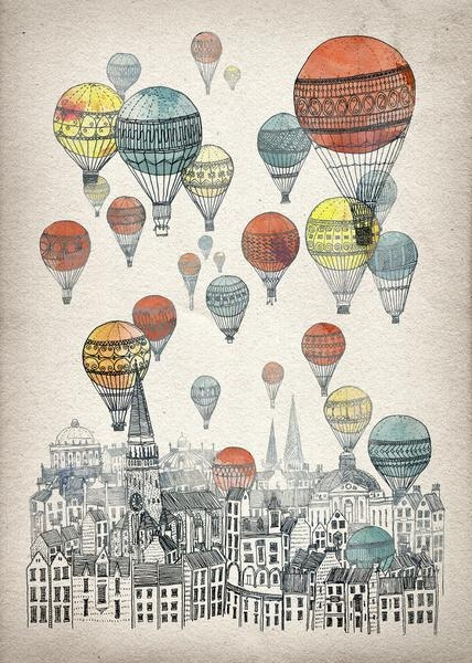 Voyages Over Edinburgh Art Printdavid Fleck | Society6 Pertaining To Edinburgh Canvas Prints Wall Art (Image 19 of 20)