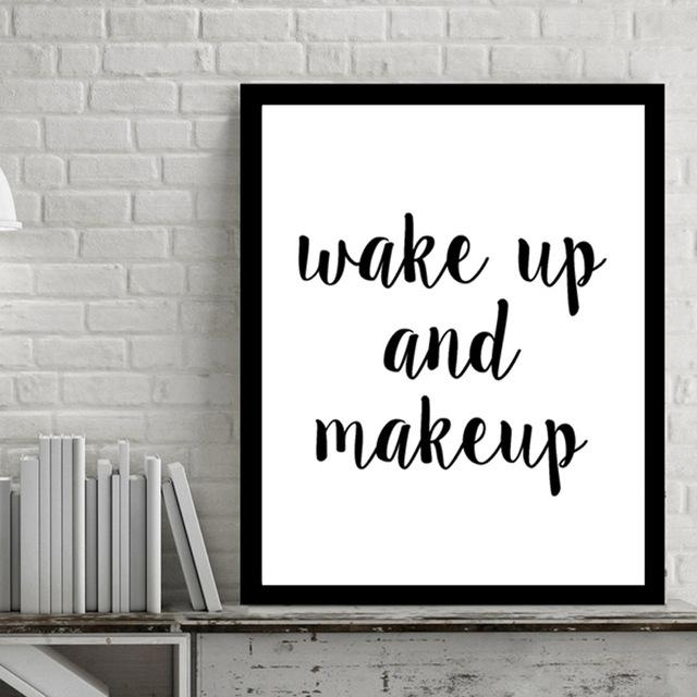 Wake Up And Make Up Quotes Canvas Art Pop Artnumbers Picture For Canvas Wall Art Quotes (View 12 of 20)
