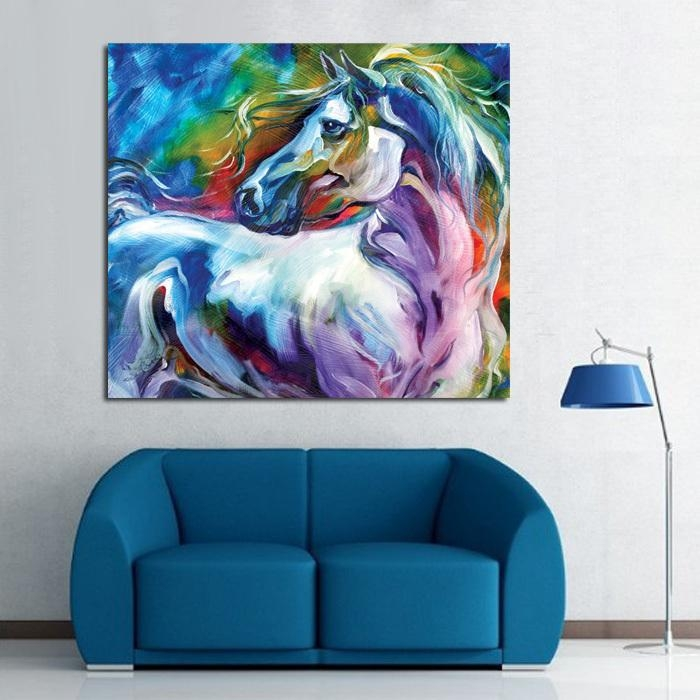 Wall Art 100% Handpainted Modern Abstract Horse Pictures On Canvas For Abstract Horse Wall Art (Image 16 of 20)