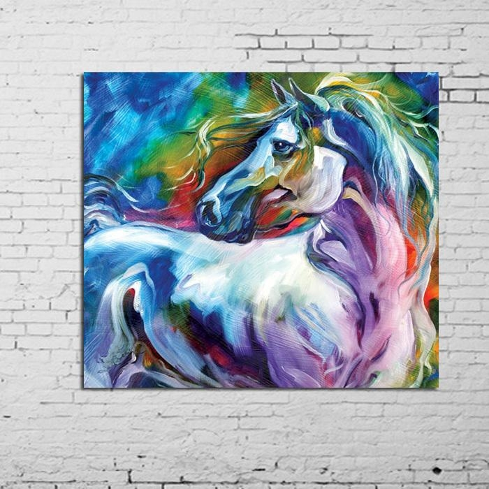 Wall Art 100% Handpainted Modern Abstract Horse Pictures On Canvas With Abstract Horse Wall Art (Image 17 of 20)