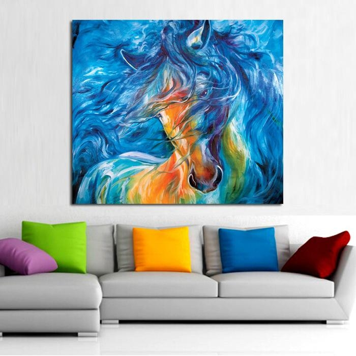 Wall Art 100% Handpainted Running Crazy Horse On Canvas Modern Within Abstract Horse Wall Art (View 20 of 20)