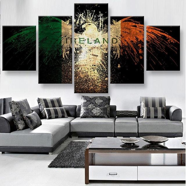 Wall Art 5 Panels Canvas Prints Ireland Eagle Canvas Painting Home With Regard To Ireland Canvas Wall Art (View 8 of 20)