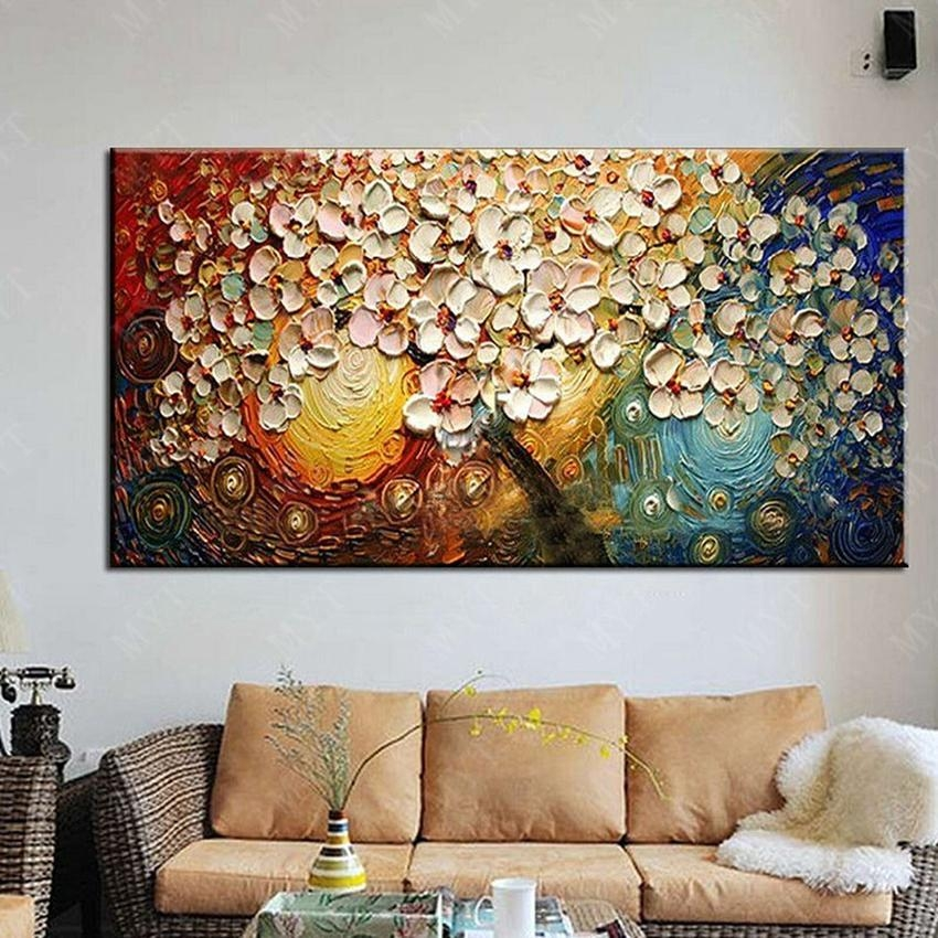 Wall Art Abstract Paintings Modern Oil Painting On Canvas Home Within Oil Paintings Canvas Wall Art (Image 16 of 20)