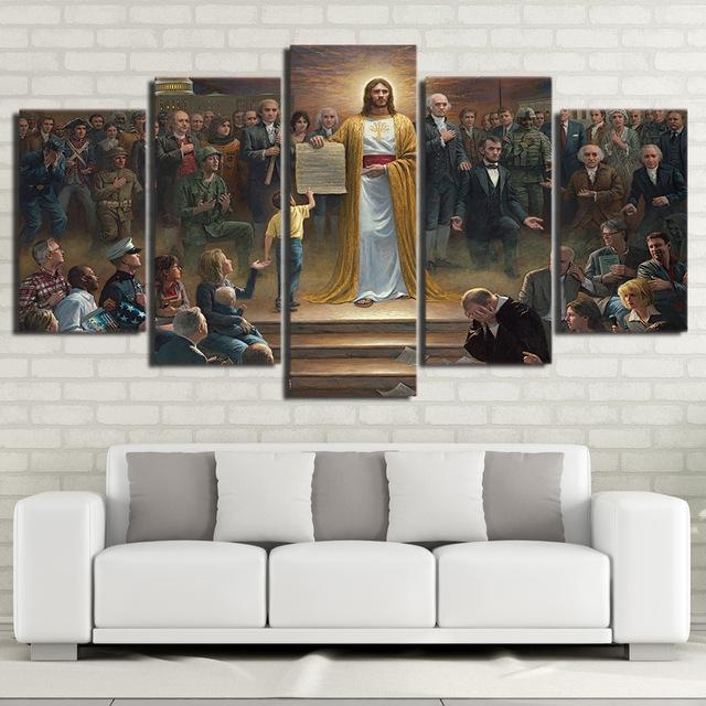 Wall Art Canvas Pictures Home Decor Frame 5 Pieces Classic Regarding Jesus Canvas Wall Art (Image 18 of 20)