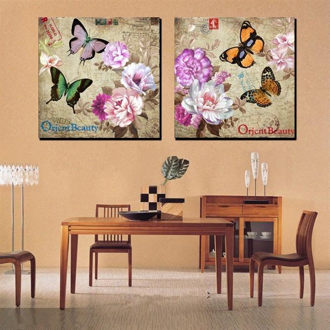 Wall Art Decor: Decorative Flower Butterfly Canvas Wall Art With Butterflies Canvas Wall Art (View 11 of 20)