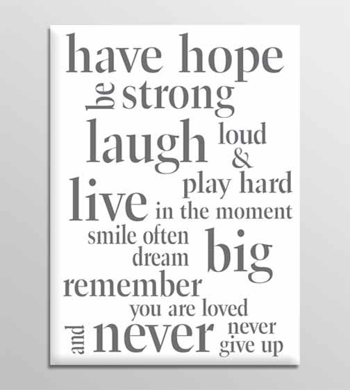 Wall Art Decor: Have Canvas Wall Art Quotes Hope Be Strong Laugh Pertaining To Large Canvas Wall Art Quotes (View 11 of 20)