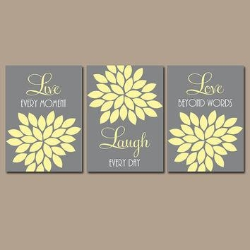 Wall Art Decor Ideas: Nature Inspired Yellow Gray Wall Art Live Within Live Laugh Love Canvas Wall Art (View 6 of 20)