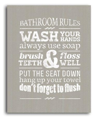 Wall Art Decor Ideas: Wash Bathroom Rules Canvas Wall Art Your Regarding Bathroom Canvas Wall Art (View 10 of 20)