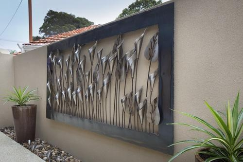 Wall Art Design Ideas: Black Steel Outdoor Wall Art Ideas Stained Within Abstract Garden Wall Art (Image 18 of 20)