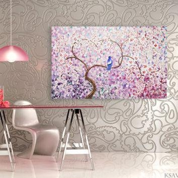 Wall Art Design Ideas: Cherry Blossom Lilac Wall Art Tree With Regard To Lilac Canvas Wall Art (View 20 of 20)