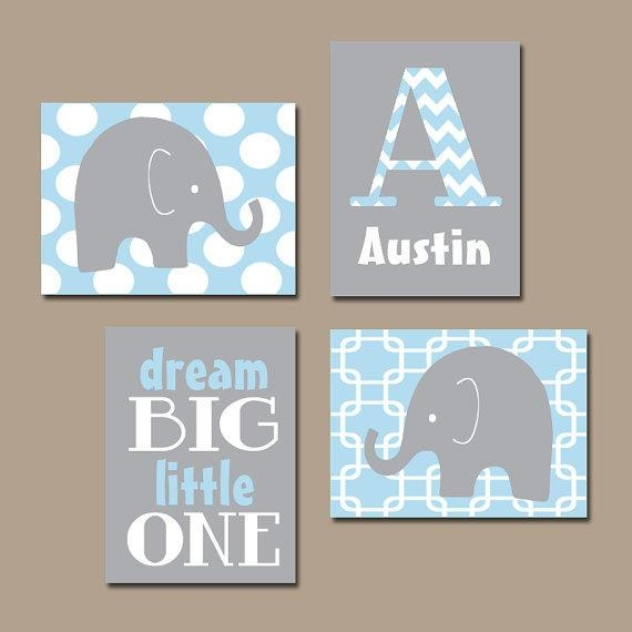 Wall Art Design Ideas: Interior Decoration Elephant Nursery Wall Inside Personalized Nursery Canvas Wall Art (View 7 of 20)