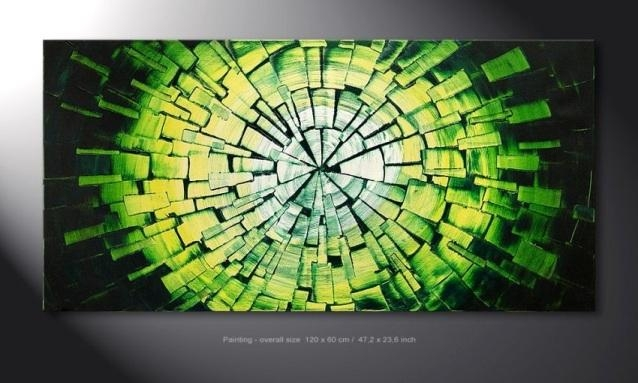 Wall Art Design Ideas: Ready To Hang Green Wall Art Hand Painted Inside Green Abstract Wall Art (View 9 of 20)