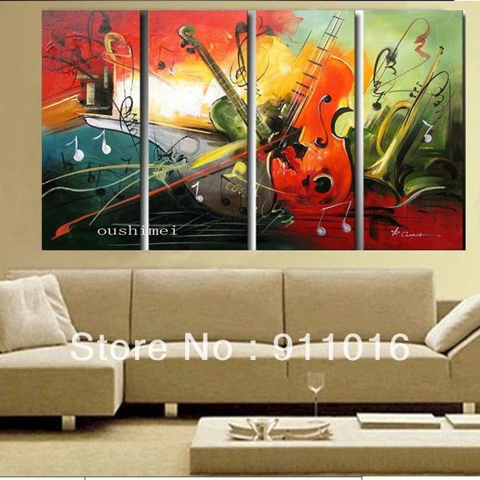 Wall Art Design: Music Canvas Wall Art Hand Painted Oil Painting Intended For Music Canvas Wall Art (View 7 of 20)
