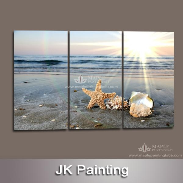 Wall Art Designs: Beach Canvas Wall Art 3 Panels Contemporary Pertaining To Beach Themed Canvas Wall Art (Image 16 of 20)