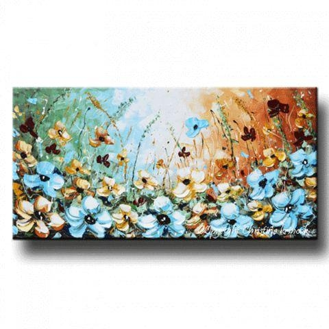 Wall Art Designs: Canvas Wall Art Abstract Painting Blue Flowers With Blue And Brown Canvas Wall Art (Image 19 of 20)