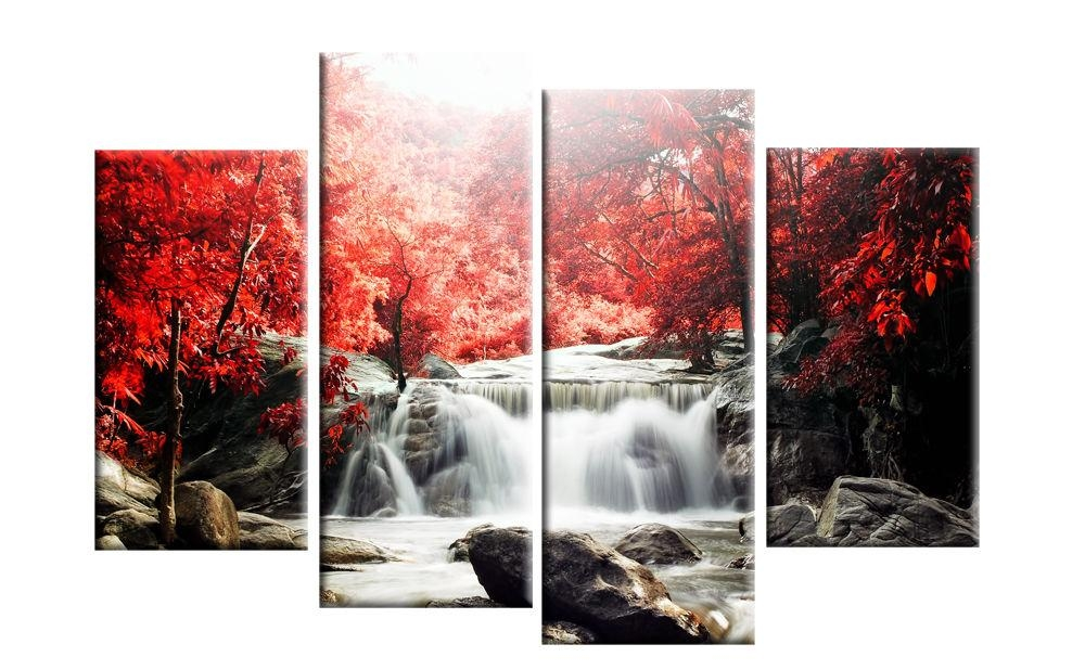 Wall Art Designs: Canvas Wall Art Red Autmn Forest Waterfall Pertaining To Red Canvas Wall Art (Image 17 of 20)