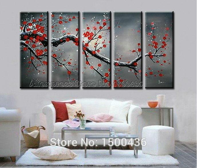 Wall Art Designs: Cheap Wall Art Cherry Blossom Large Modern Wall With Regard To Large Red Canvas Wall Art (Image 9 of 14)