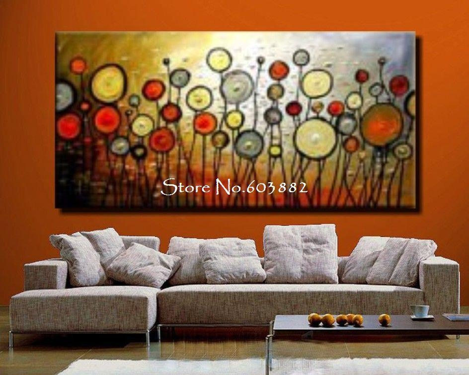Wall Art Designs: Discount Wall Art Floral Painting Large Canvas With Orange Canvas Wall Art (View 8 of 20)