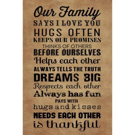 Wall Art Designs: Family Rules Wall Art Brown Words Wall Art In Canvas Wall Art Family Quotes (Image 18 of 20)