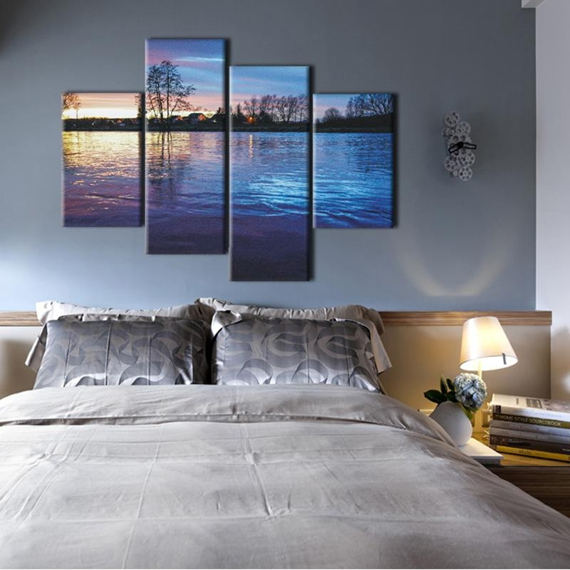 Wall Art Designs: Horizontal Wall Art Muti Panel Nature Scenery Inside Bedroom Canvas Wall Art (Image 19 of 20)