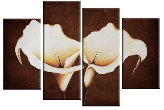 Wall Art Designs: Kirklands Wall Art 2 Cream Calla Lilies On Brown Inside Kirklands Canvas Wall Art (Image 17 of 20)