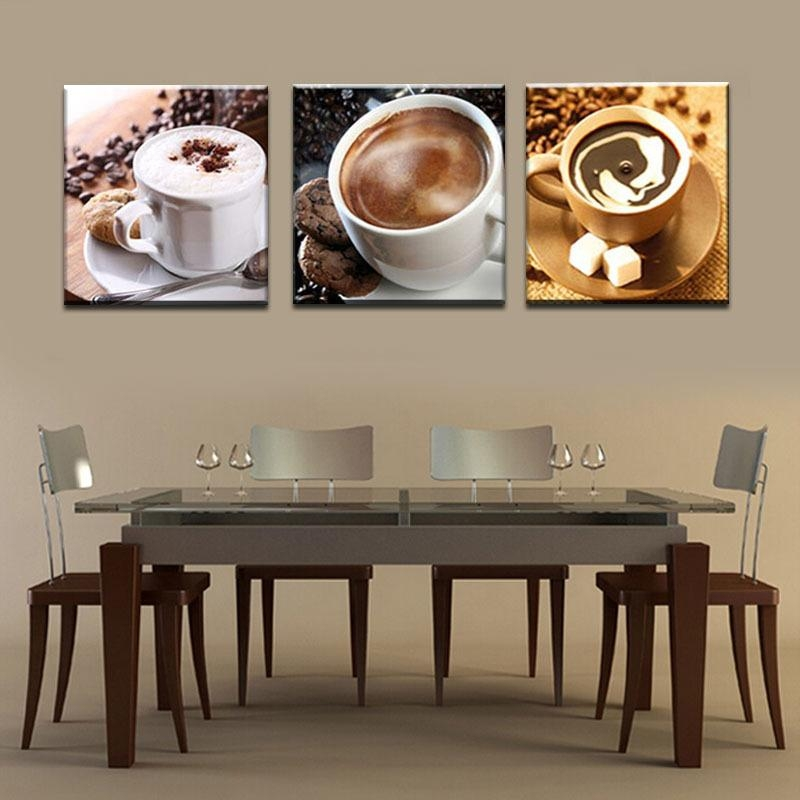 Wall Art Designs: Kitchen Wall Art Unframed 3 Panel Food And Cup Intended For Coffee Canvas Wall Art (View 12 of 20)