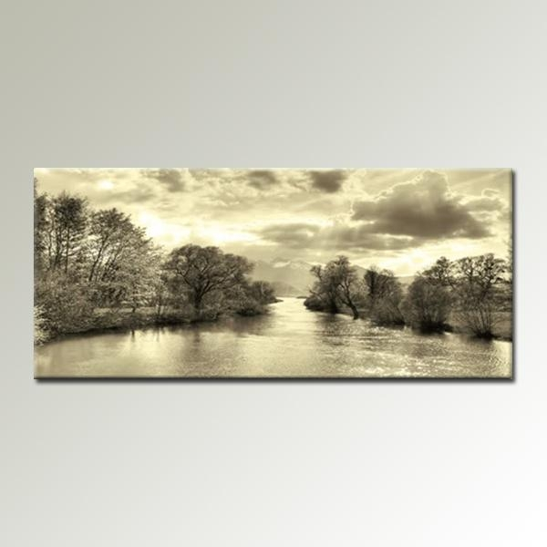 Wall Art Designs: Landscape Wall Art Cream Black And White For Panoramic Canvas Wall Art (Image 16 of 20)