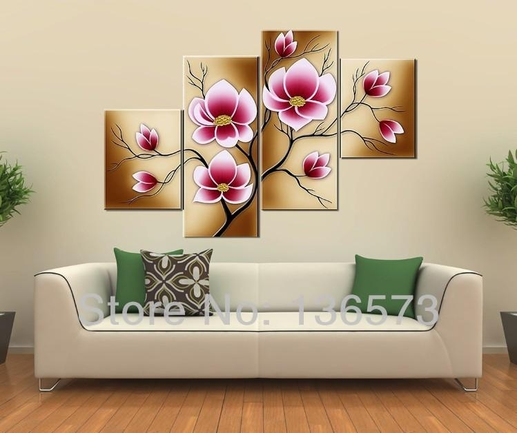 Wall Art Designs: Large Canvas Wall Art Handmade Bright Pink Intended For Canvas Wall Art Of Flowers (View 18 of 20)